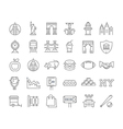 Set Flat Line Icons New York vector image