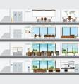 cutaway office building with interior design plan vector image vector image