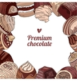 Square template with different chocolate candies vector image