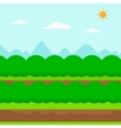 Background of field rows with green bushes vector image