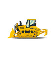 bulldozer tracked vehicles tractor yellow vector image