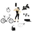 fitness women set vector image