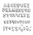 hand drawn alphabet lowercase and punctuation vector image