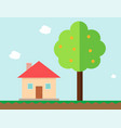 house and orange tree in gaming style vector image