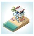 Isometric lifeguard tower vector image