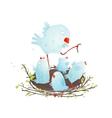 Mother Bird in Nest Feeding her Babies vector image