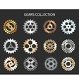 Metal gears or clock cogwheels icons vector image