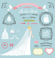 wedding bridal shower decor setbrideswirlsicons vector image