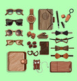 fashionable hipster wooden elements set vector image