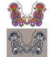 Neckline ornate floral paisley embroidery fashion vector image