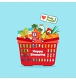 Supermarket shopping basket with fresh and natural vector image