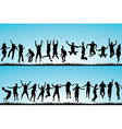 Set of people jumping outdoor vector image