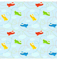 Blue seamless pattern with clouds and airplanes vector image