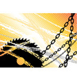 industrial background with chain and saw vector image