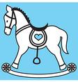 Rocking horse on blue background vector image