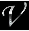 silver metallic letter V vector image