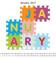 January 2017 puzzle calendar vector image vector image
