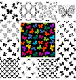 Set seamless patterns with butterflies vector image