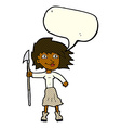 cartoon woman with spear with speech bubble vector image