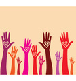 Raised hand with hear vector image