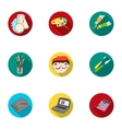 Artist and drawing set icons in flat style Big vector image