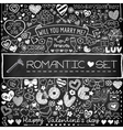 Chalk board romantic doodle set vector image