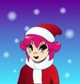 Christmas anime girl vector image