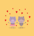 color background with couple of hippos holding vector image