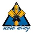 Color vintage diving emblem vector image
