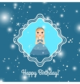 Happy Birthday blue card with princess vector image