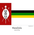 National flag of KwaZulu with correct proportions vector image