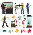 people and aquaria set vector image