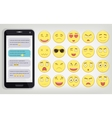 Emoticon set with Phone Emoticon for web site vector image