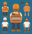 flat characters kit worker characters vector image