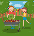 happy couple having outdoor barbecue young man vector image