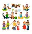 Hippie people icon set vector image