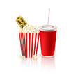Popcorn with drink and tickets vector image