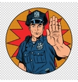 Retro police officer stop gesture vector image