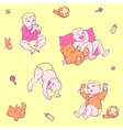 seamless pattern young children in diapers with a vector image