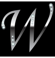 silver metallic letter W vector image