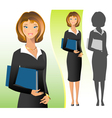 A business woman wearing a suit smiling standing vector image