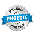 Phoenix round silver badge with blue ribbon vector image