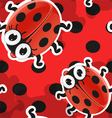 Red background with cute cartoon ladybug vector image
