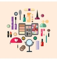 Beauty store with cosmetic objects vector image