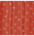 Christmas line icons seamless pattern background vector image