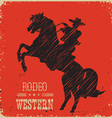 Cowboy riding wild horseWestern poster vector image