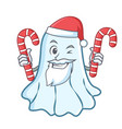 santa with candy cute ghost character cartoon vector image