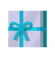 Silver Gift Box with Green Ribbon vector image