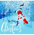 Santa Claus fall from sleigh with harness on the vector image