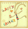 Retro Easter Card with Bunny vector image vector image
